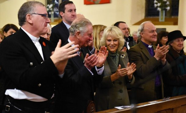The Prince Charles, Duke of Rothesay and The Dutchess of Rothesay, attended a performance of Robert Burns poetry with music by Professor Paul Mealor and the Aberdeen University Chamber Choir, at Glenmuick Church, Church Square, Ballater. Pictures by Colin Rennie.