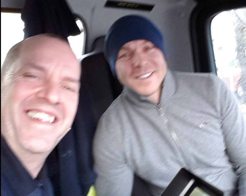 Olympic cycling hero Sir Chris Hoy with gritter driver Stevie.