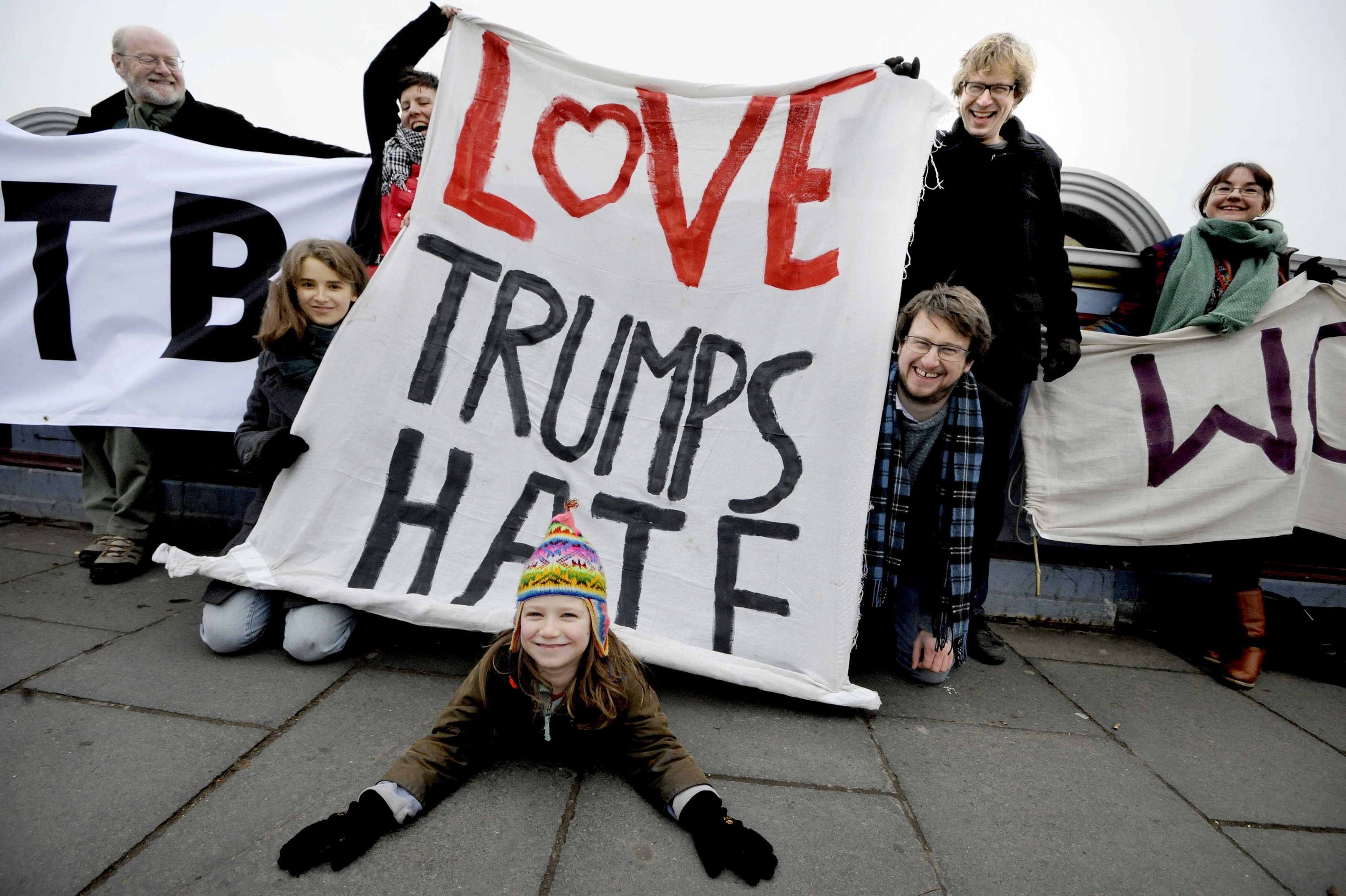 Banners on North Bridge in Edinburgh as part of the Bridges Not Walls protest against US President Donald Trump on the day of his inauguration.