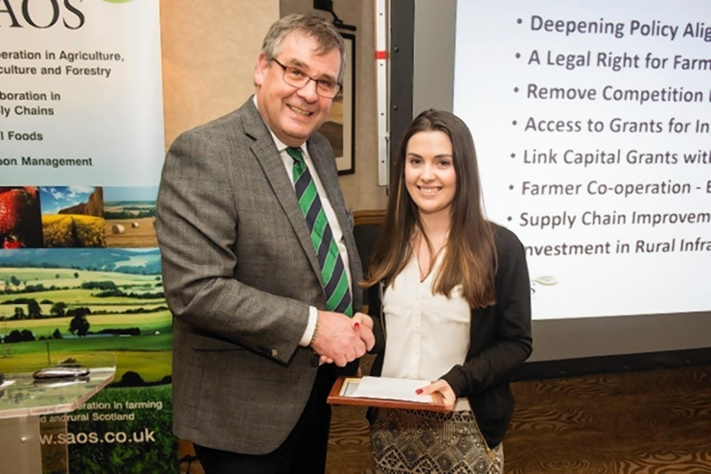 George Lawrie presenting Kate Drever with her award