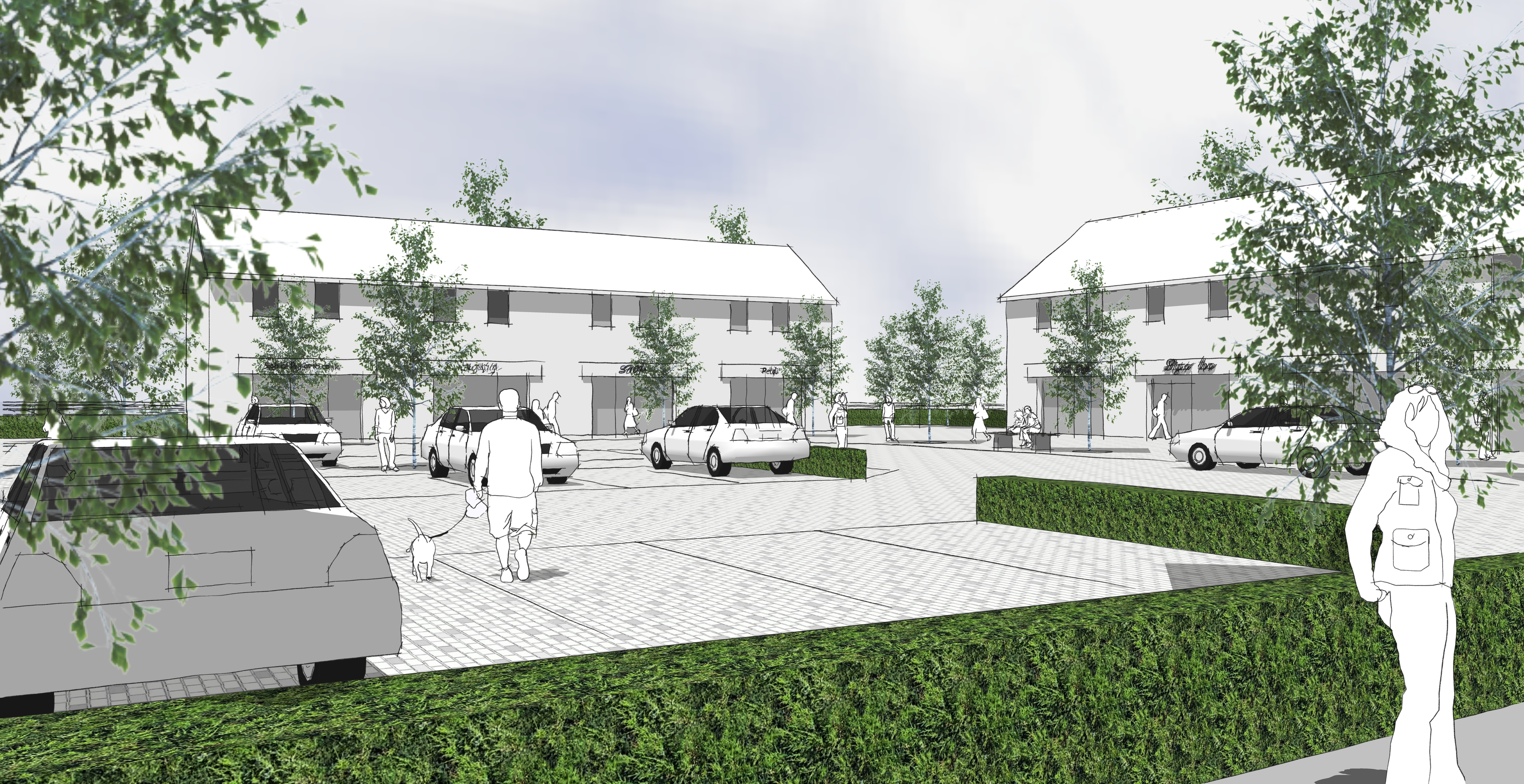 An artists impression of the proposed retail area at Milton of Leys