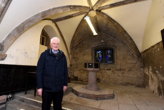 Arthur Winfield, project leader of the Mither Kirk project in the St Mary's chapel, built in the mid 1400's.
