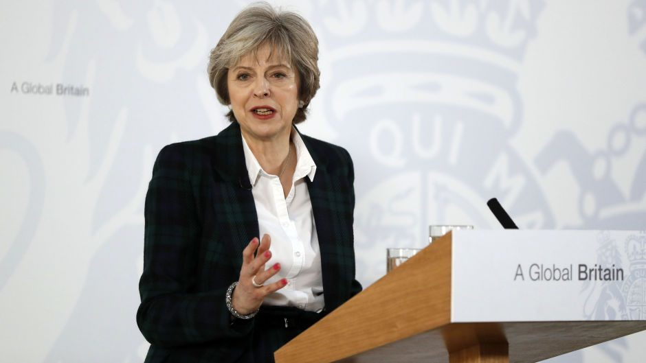 Prime Minister Theresa May speaking at Lancaster House in London