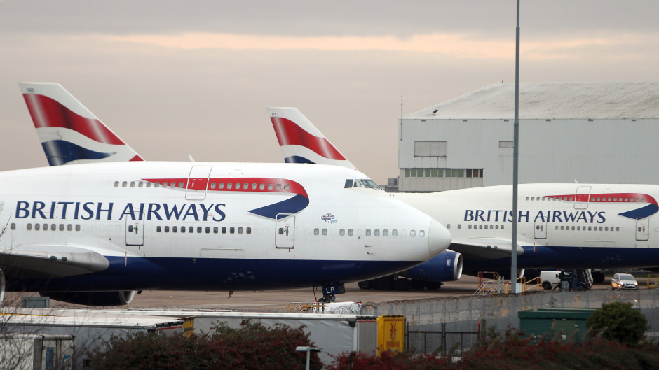British Airways aircraft on the tarmac at London's Heathrow Airport