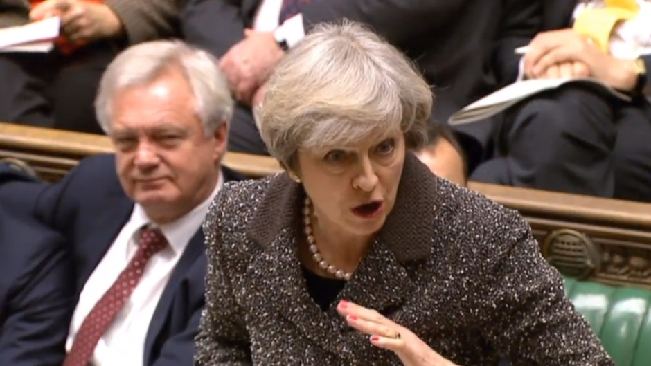Theresa May during Prime Minister's Questions in the House of Commons