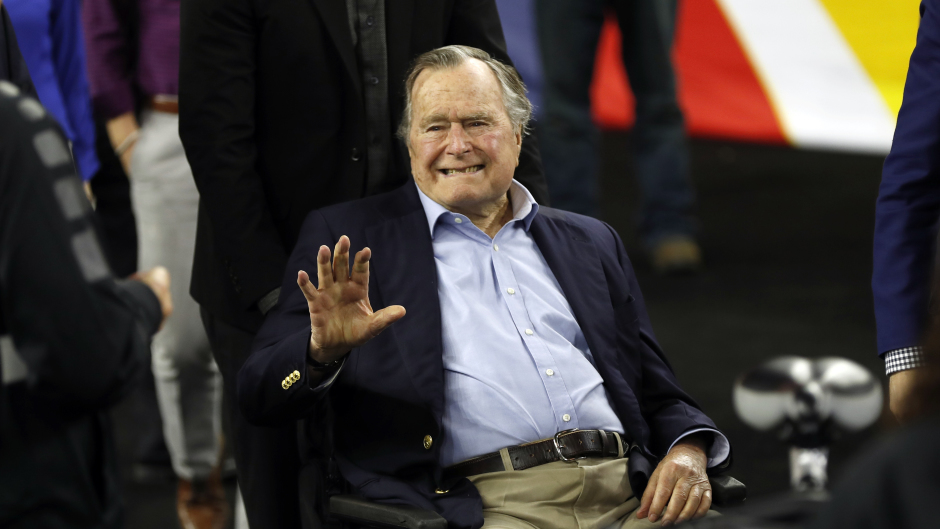 Former president George HW Bush has been admitted to hospital in Houston (AP/David J. Phillip)