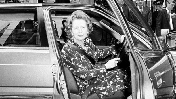 Margaret Thatcher getting behind the wheel
