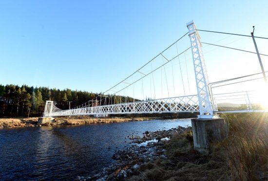 Polhollick footbridge at Bridge of Cairn, Ballater,