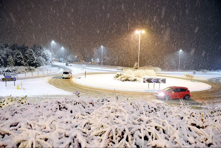 Westhill roundabout Straik Road, Saturday night.     Picture by Kami Thomson    29-01-17