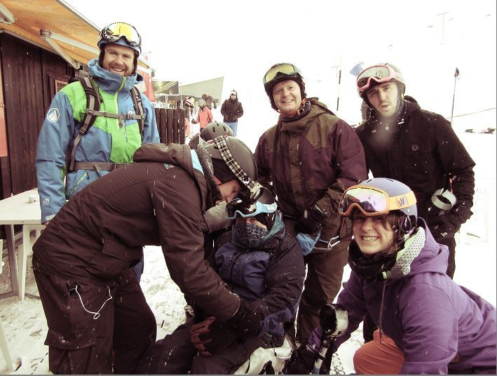 Stephen Black in a sit ski during a family holiday last year.