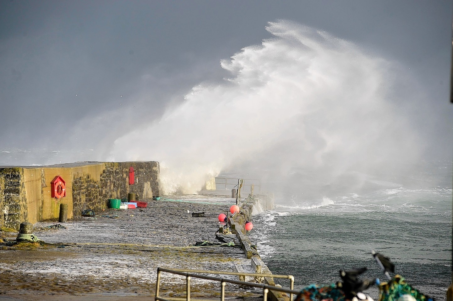 High winds also whipped up the sea at Rosehearty
