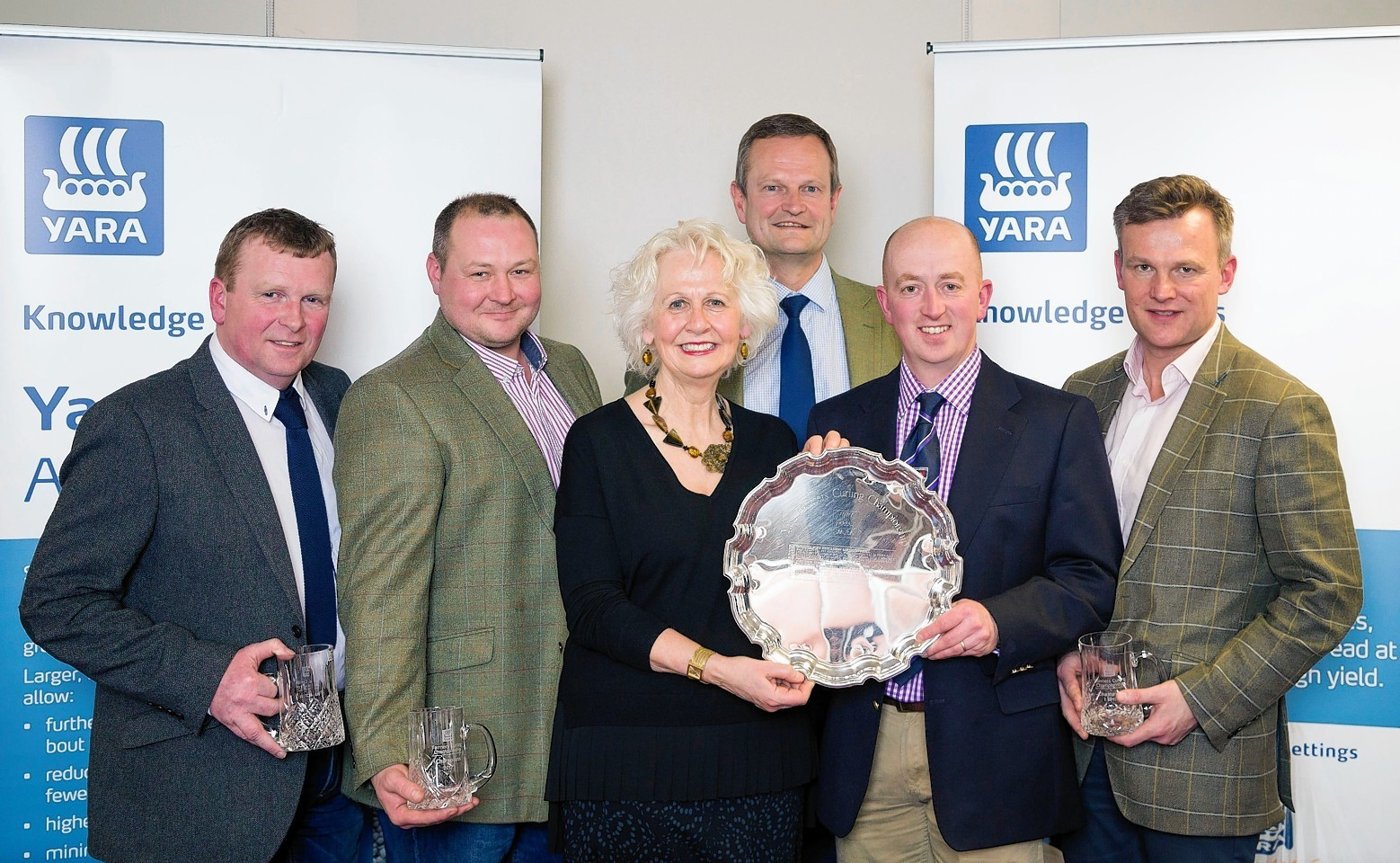The high road winners - Hamish Robertson, Stuart Stark, Rosie Carne and Peter Smith from Yara, Sandy Reid and John Dunn.