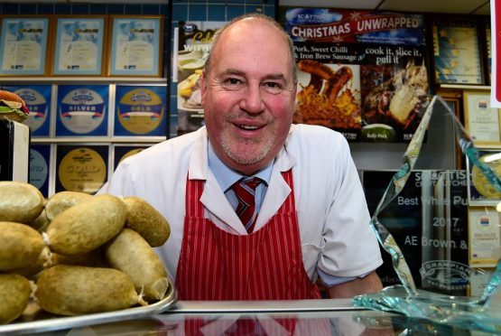 John Brown of Turriff with his award winning white puddings