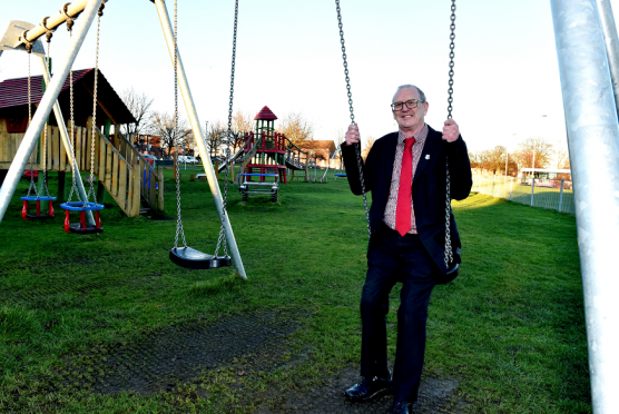 Councillor Gordon Graham, vice-convener of the local authority's communities, housing and infrastructure committee gets into the swing of things