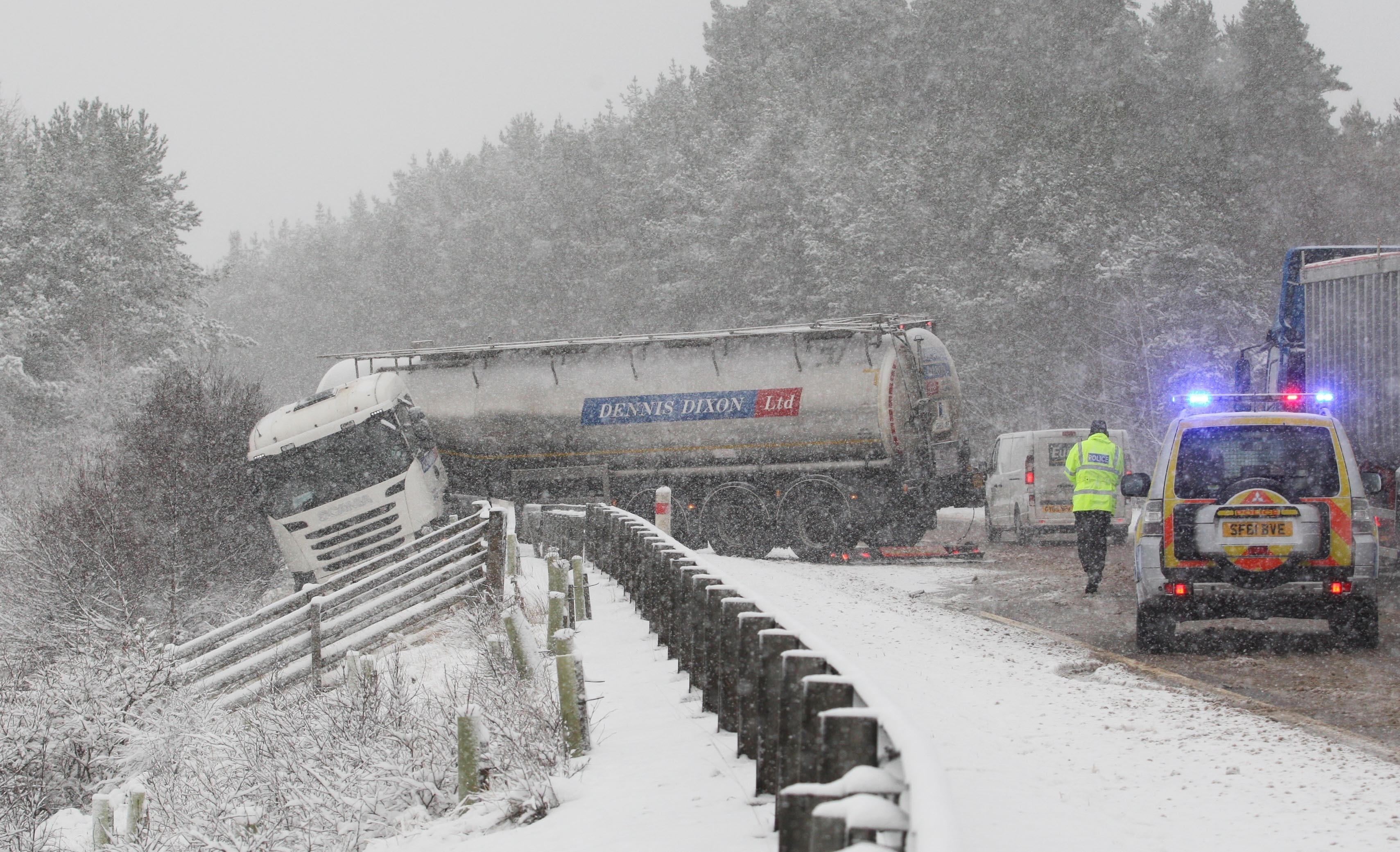 The lorry jack-knifed near Newtonmore in snowy conditions