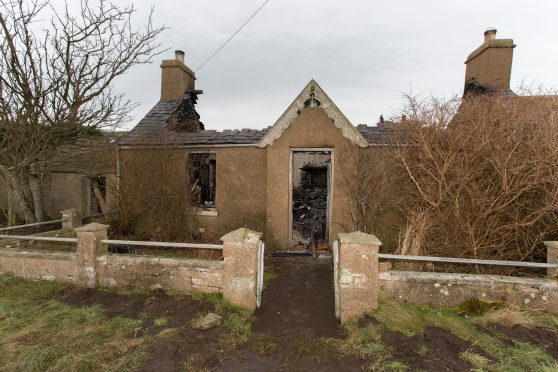 The roof and interior of a croft house at Scarfskerry was completely destoryed by fire.