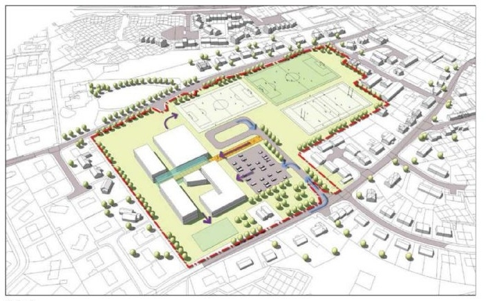 A map that shows the potential area over which the Tain super campus could be built.