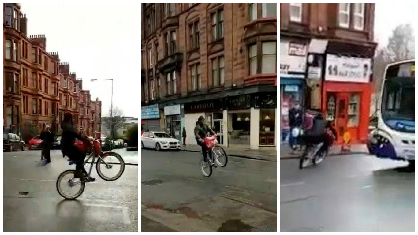 Marshawn Lynch was seen riding a BMX bike complete with a Skittles-themed messenger bag in Scotland.