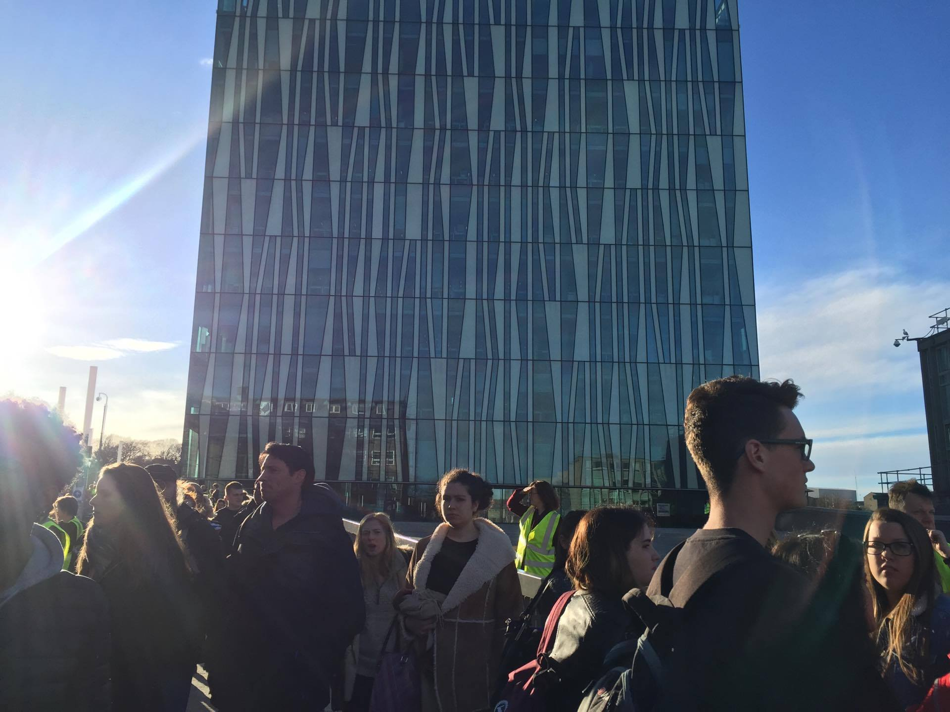 Students are evacuated from the Sir Duncan Rice building