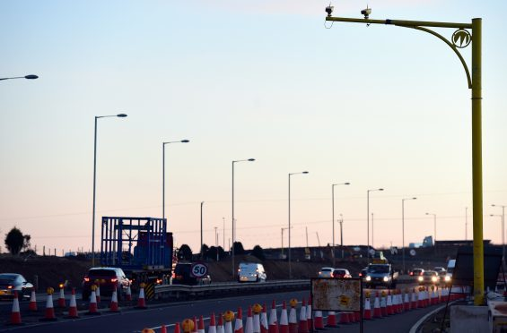 Average speed cameras on the A90 northbound coming into Aberdeen