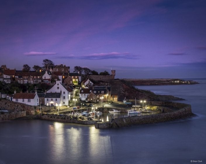 Evening twilight at Crail Harbour by Brian Clark