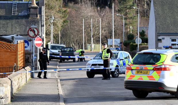 Police Scotland presence on Braichlie Road, Ballater. Picture by Jim Irvine