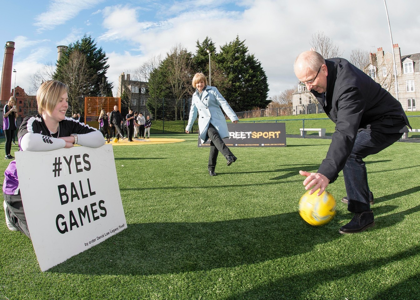 Opening of the first Cruyff Court in Aberdeen in 2017.