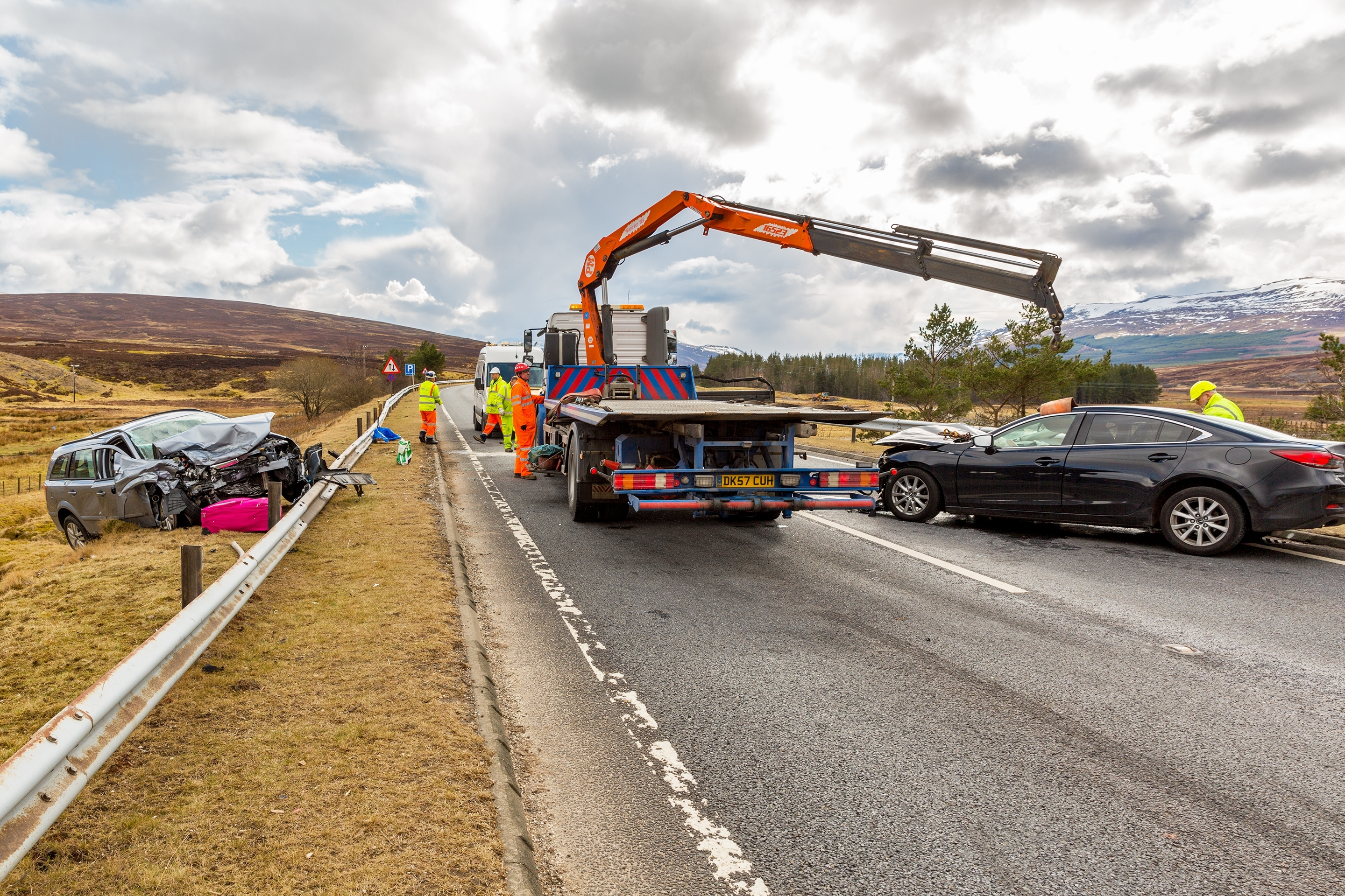 The scene of the crash on the A9 at Dalwhinnie.