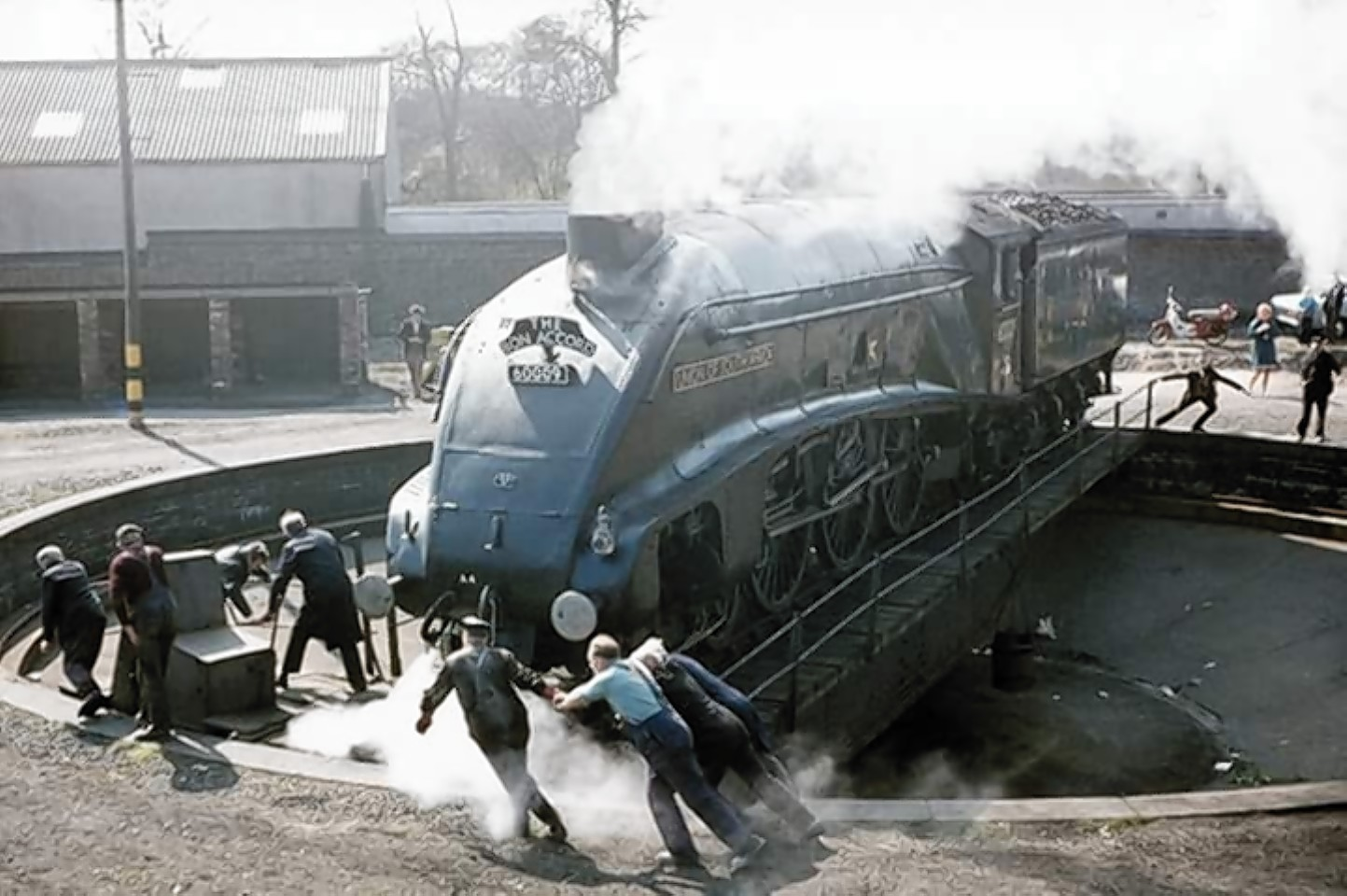 Classic steam train Union of South Africa returns to Aberdeen for first time since 1966 at Ferryhill Railway Turntable.