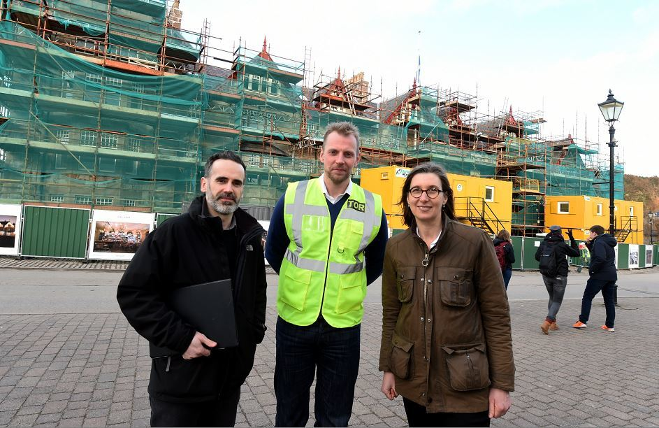 Architects, Scott Gibb, left and Ben Addy from Moxon Architects with Federica Bertolini, manager of Fife Arms Hotel, Braemar. Picture by Jim Irvine.