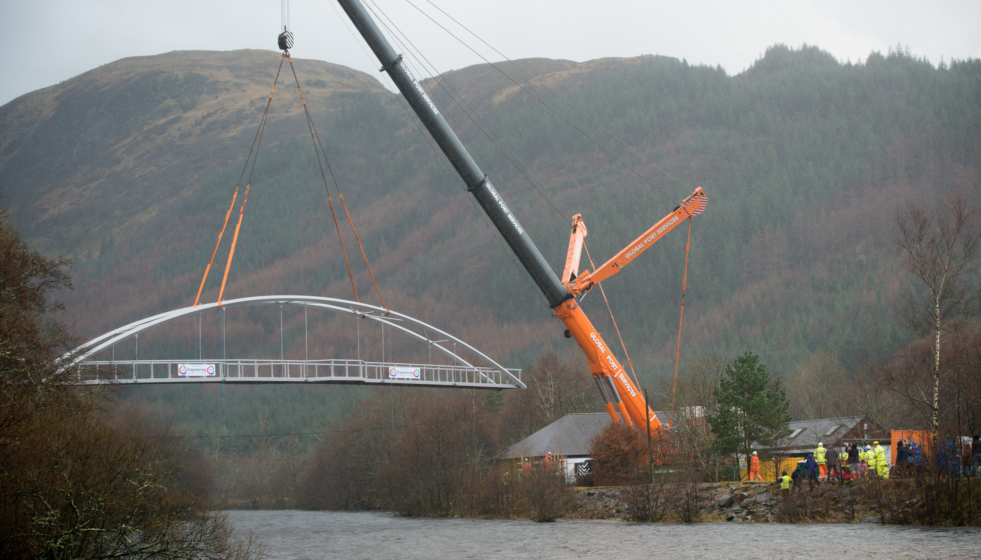 The new footbridge is lowered into place in Glen Nevis