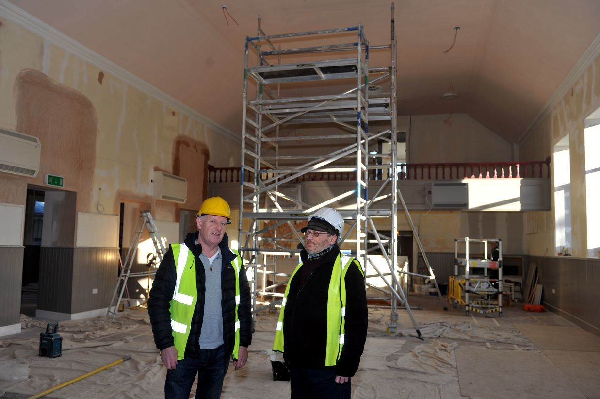 Most of the work at Fochabers Institute is expected to be finished by the end of the month. Pictured: Fochabers Village Association chairman Gordon Christie, general manager Alan Brown.