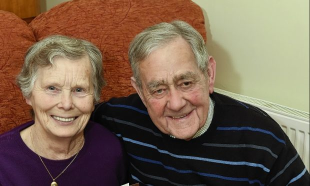 Helen and William Johnstone at home near Lumphanan celebrating their Diamond wedding anniversary. Picture by COLIN RENNIE.