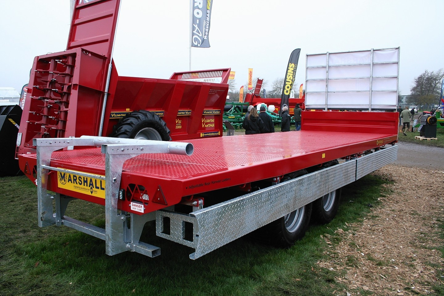 The Marshall BC flatbed trailer comes with new features for securing loads and making it easier to level off filled potato boxes.