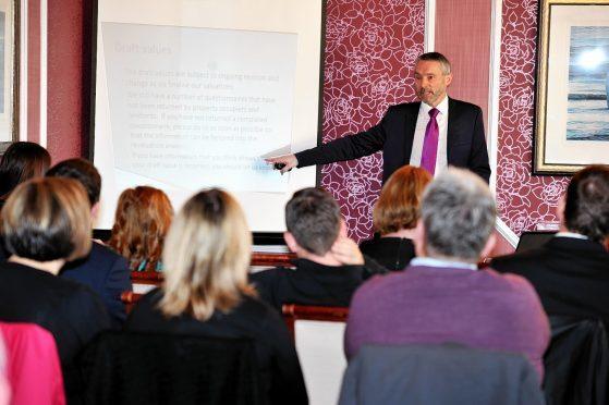 Ian Milton speaks to business leaders in Moray