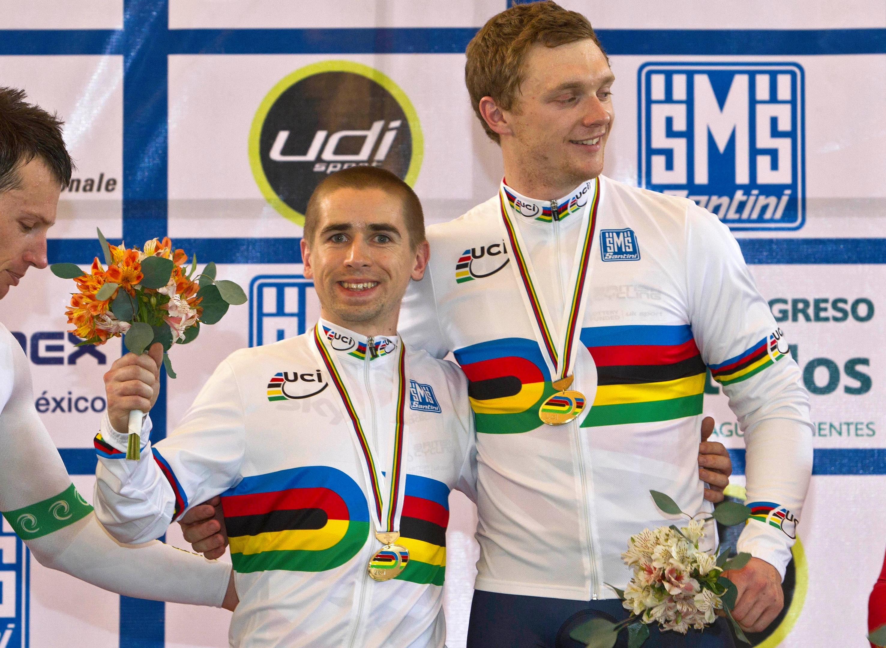 Great Britain's Peter Mitchell (right)and Neil Fachie celebrate after wining gold medal in the Sprint during day four of the UCI Para-cycling Track World Championships at the Aguascalientes Bicentenary Velodrome, Aguascalientes, Mexico.
