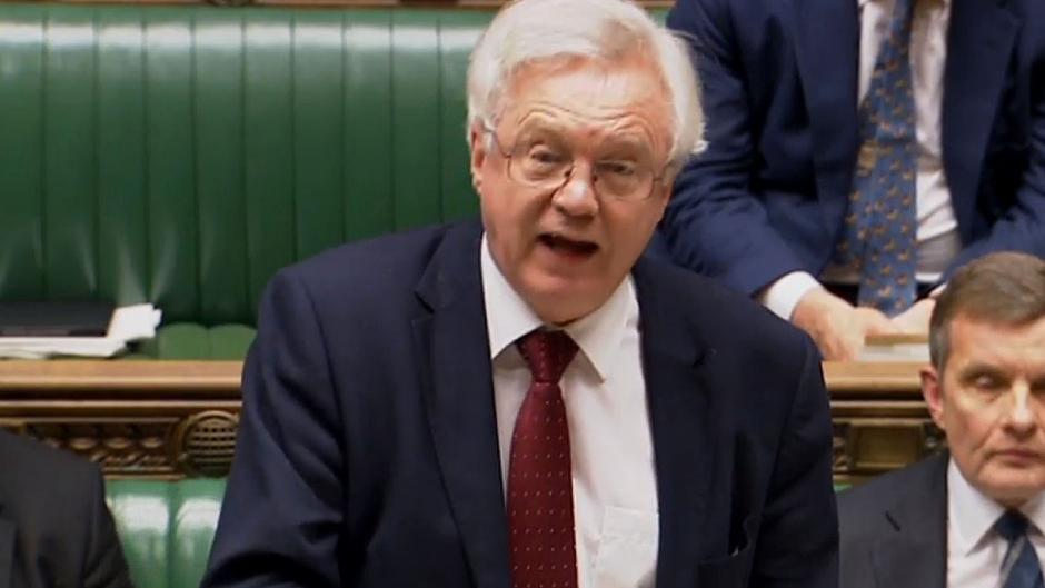 Brexit Secretary David Davis speaks in the House of Commons