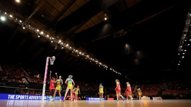 A game of netball in action.