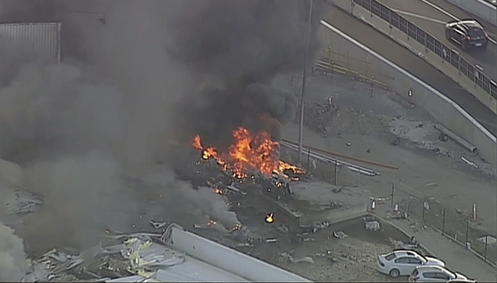 This image made from video shows the site of a plane crash at Essendon Airport in Melbourne, Australia