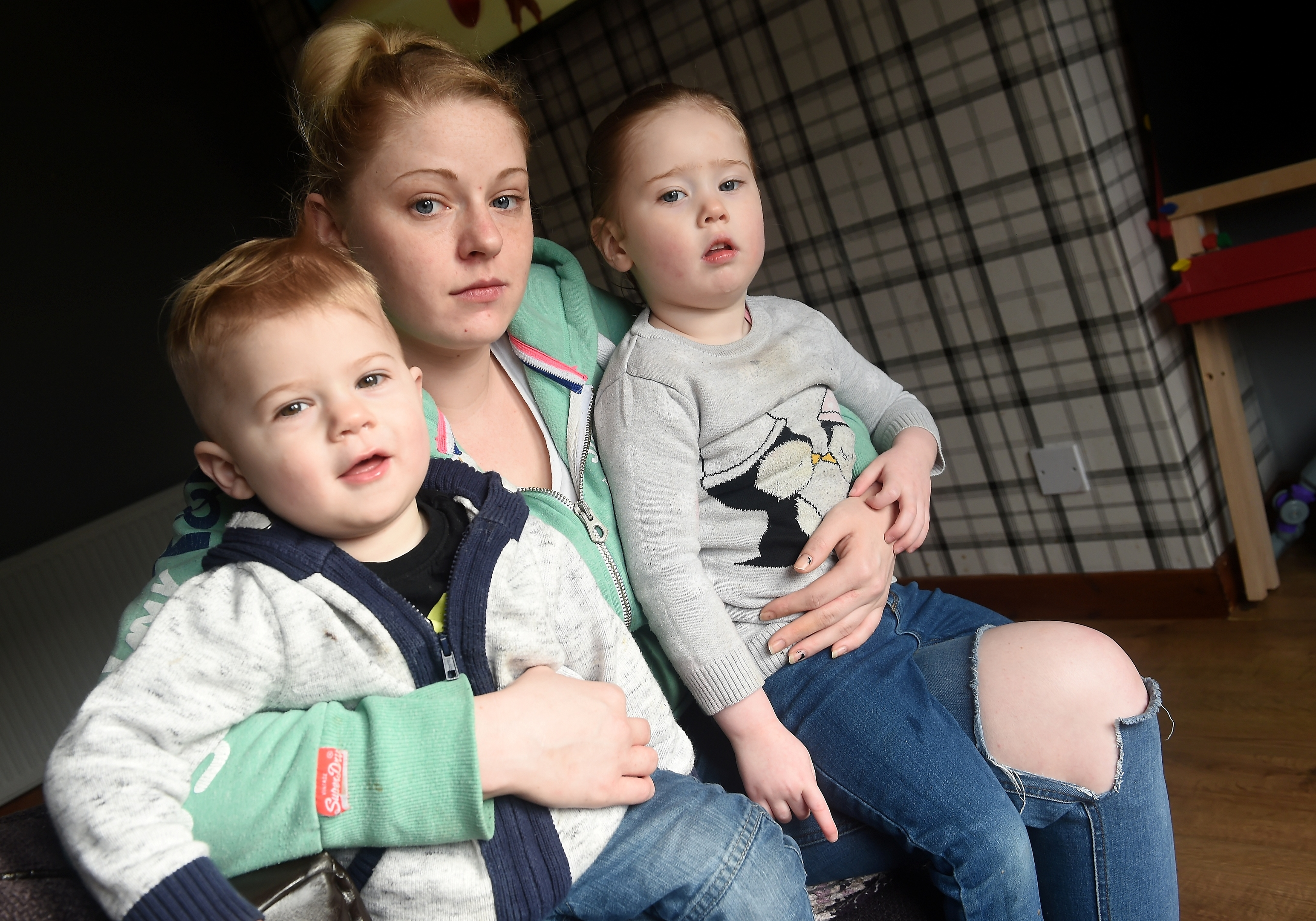 Rachael Grant with her two children Zander (1) and Emily (2).