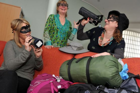 Staff at Moray Women's Aid are preparing for their masked ball and trek across the Sahara Desert to raise funds. Pictured: Claire Payne, Elle Johnston, and Elaine Adam