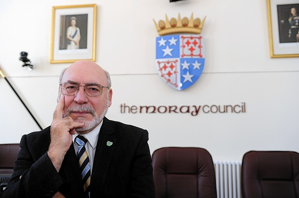 Council Leader, Stewart Cree, inside Moray Council Chamber