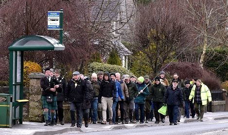 The annual march to the River Don for the salmon season opening in Inverurie