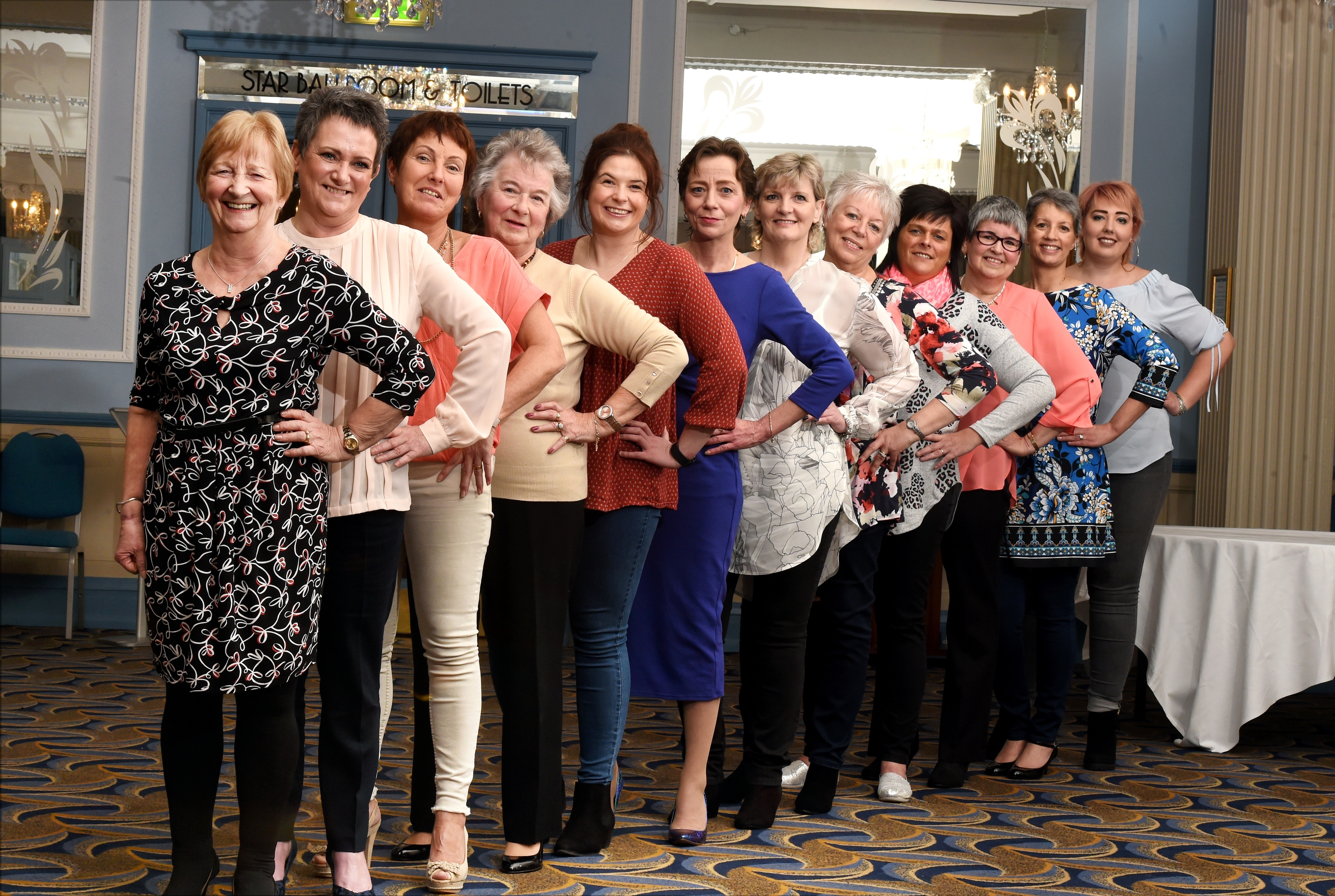 (From left) Anne Rae, Janie Crampshee, Milly Hutcheon, Vilma Main, Kim Wilkie, Julie Ritchie, Heather Moir, Alix Coull, Wendy Palmer, Christina Crawford, Yvonne Mitchell and Nadia Cruickshank.