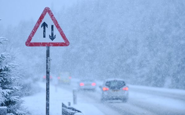 Snow fall on the A9