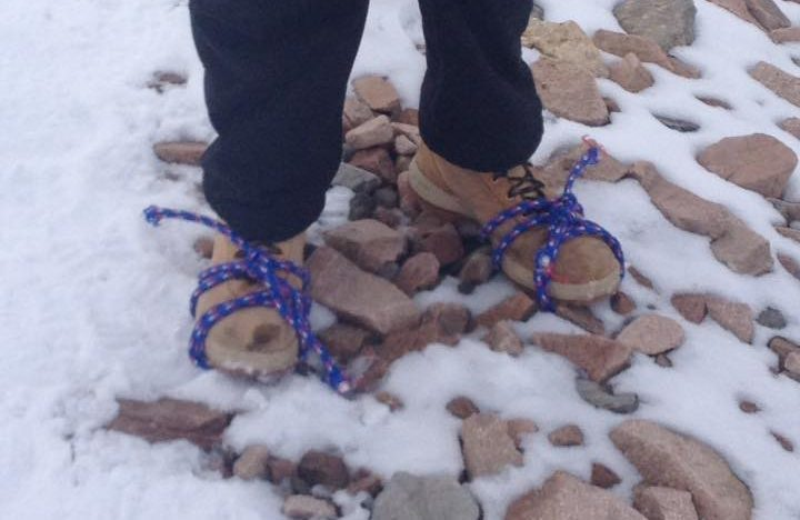 The homemade crampons