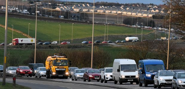 Traffic queues ahead of the contra-flow earlier last year