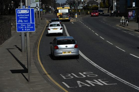 Aberdeen bus lanes photographed on a Sunday
