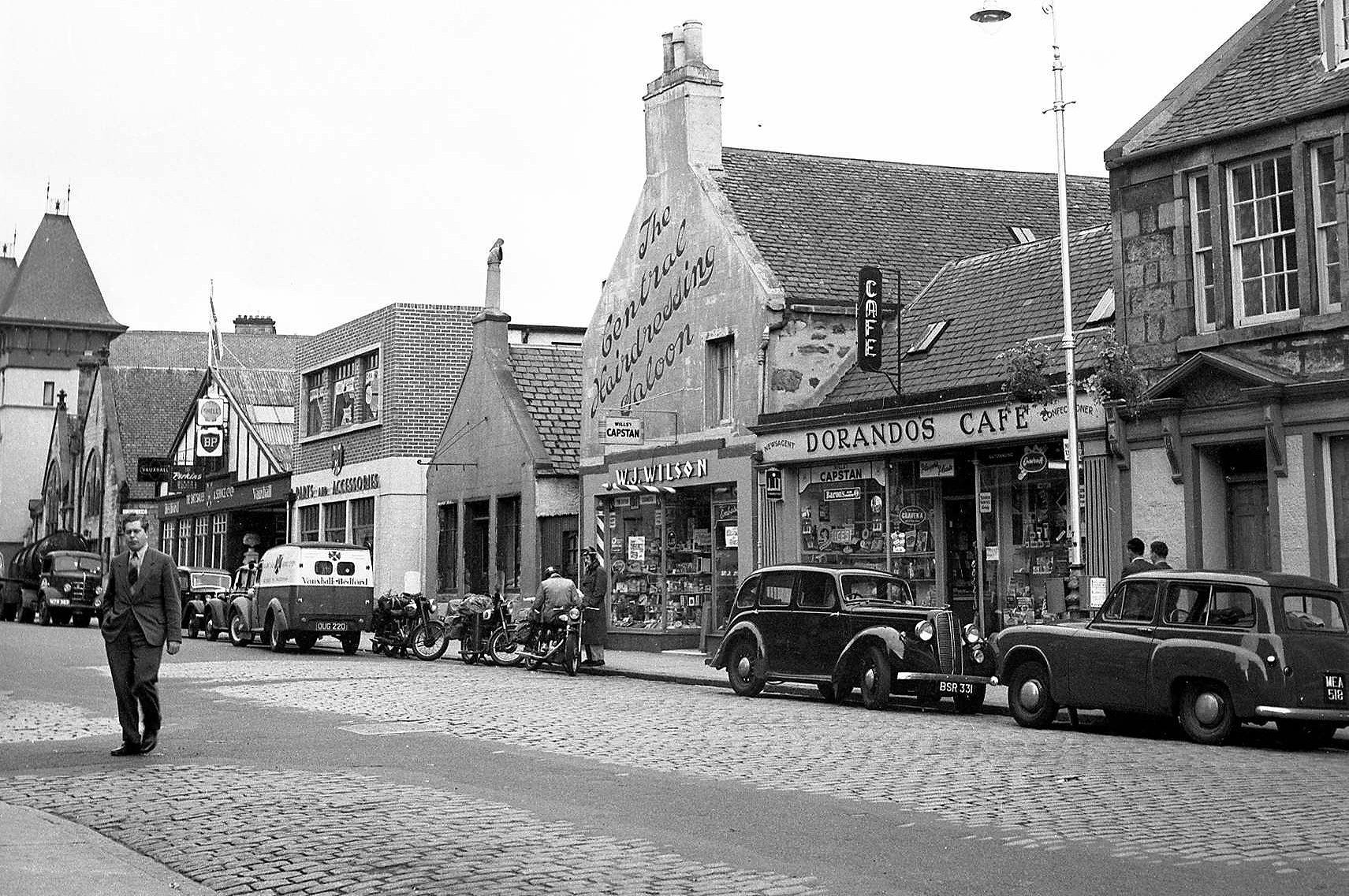 Academy Street shop fronts in 1956