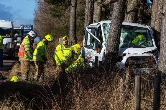 The driver was air-lifted to hospital in Aberdeen.